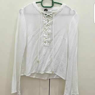 H&M Lace Up Front Tie Long Sleeve Blouse