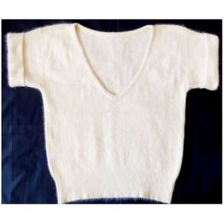 MICHAEL CARRIE英國品牌 安哥拉兔毛白色短袖毛衣