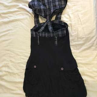 黑綿格子帽雙口袋膝上背心裙