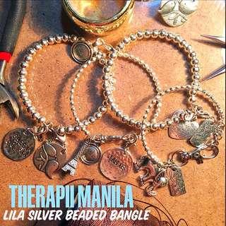 Lila Silver Beaded Bangle
