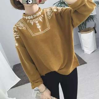 🌸Plus Size 2016 Women's loose style embroidered long-sleeved sweater hedging Korean casual Jacket🌸