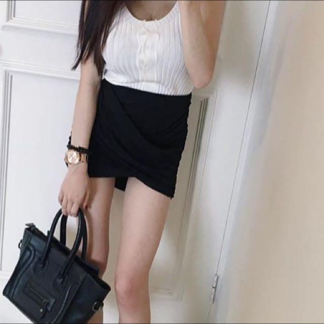 皺摺 歐美 高腰 窄裙 高腰短裙