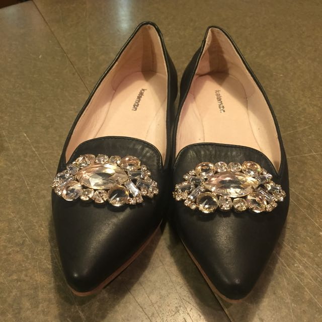 牛皮珠鑽尖頭樂福鞋