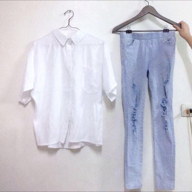 韓 單寧牛仔破褲 緊身破褲 刷破牛仔褲 Mooncat Pazzo 美式 Zara H&M
