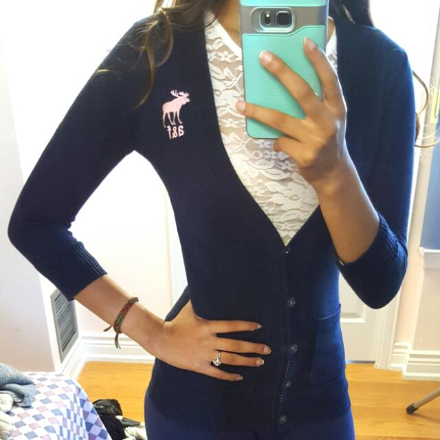 A&F Navy Blue Cardigan/Sweater