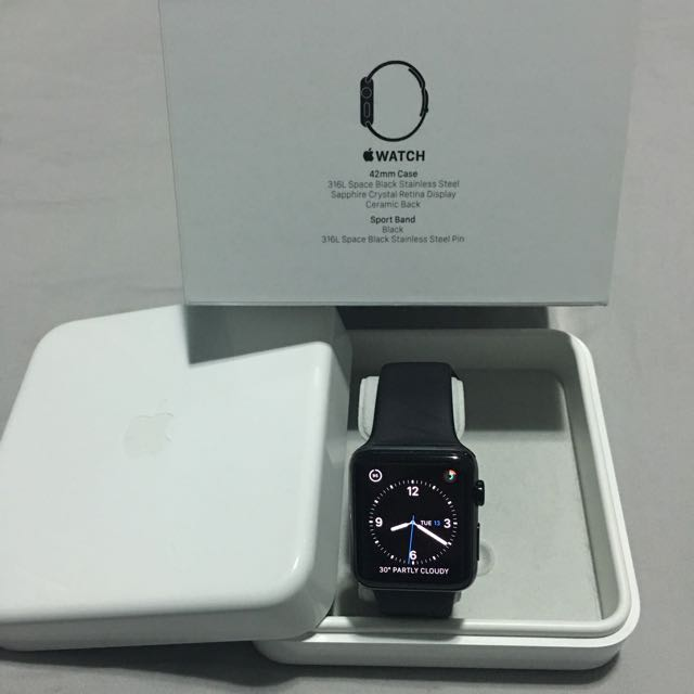 new style 55e82 c2ebe Apple Watch 42mm Stainless Steel Case Space Black with Black Sport Band