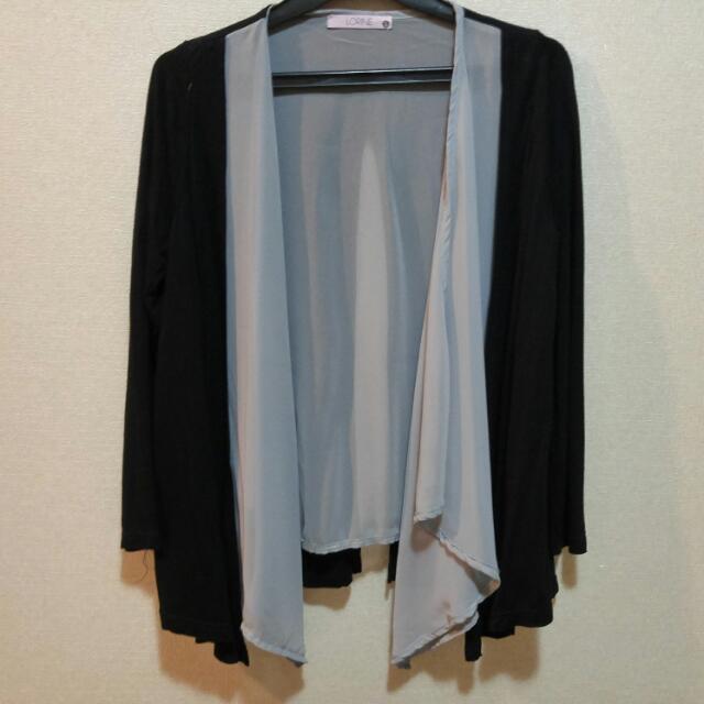 Black Grey Layer Cardigan