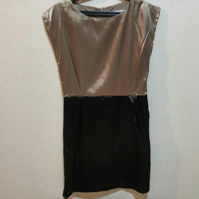 Brown Black Sateen Dress