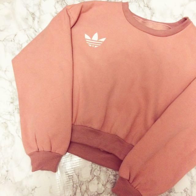 Cropped Pink Adidas Crewneck