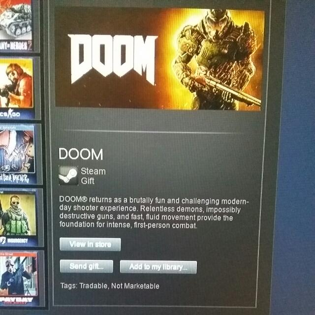 Doom Steam Gift, Toys & Games, Video Gaming on Carousell