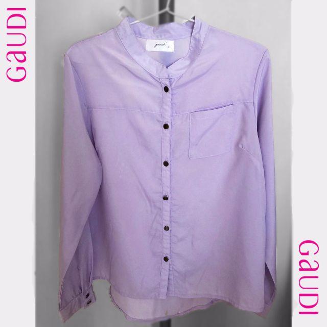 GAUDI women purple long sleeve shirt kemeja wanita lengan panjang warna ungu