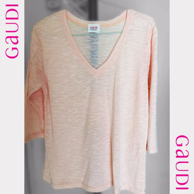 GAUDI Women Tees V-neck washed out pink T-Shirt pink washed out
