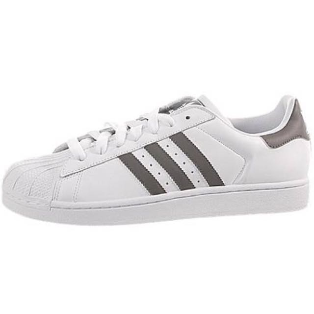 Grey And White Adidas Superstars