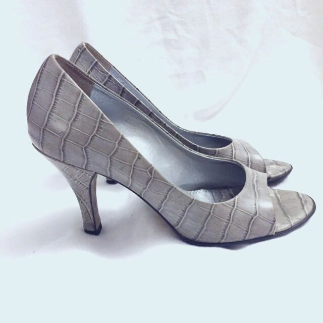 Grey Faux Alligator Heels