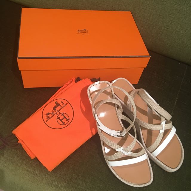HERMES White And beige espadrilles Size 35 NEW
