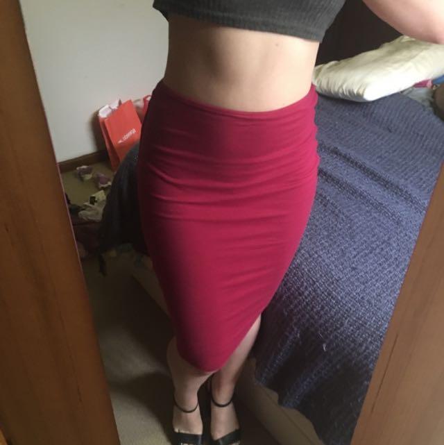 KOOKAI Hot Pink Midi Skirt