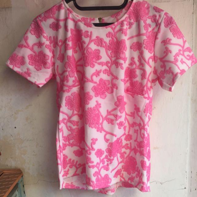 Pink Floral Top With Zip