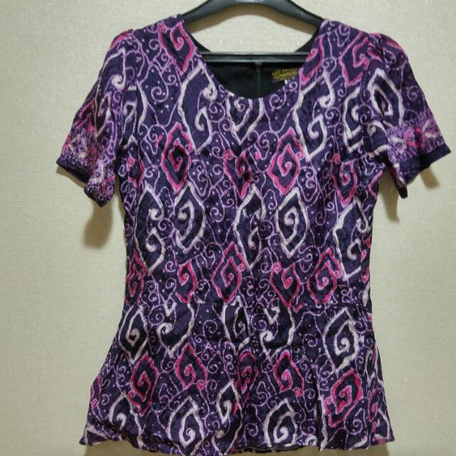 Purple Peplum Batik