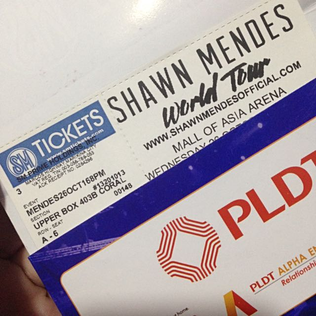 Shawn Mendes Live in Manila concert ticket