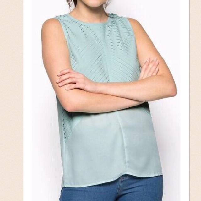 Something Borrowed Turquoise Pleated Top