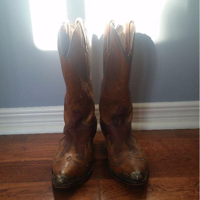 Tom Houston Brown Leather Cowgirl Boots