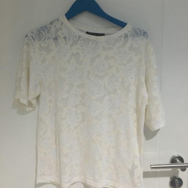 Topshop Floral Sheer Tshirt