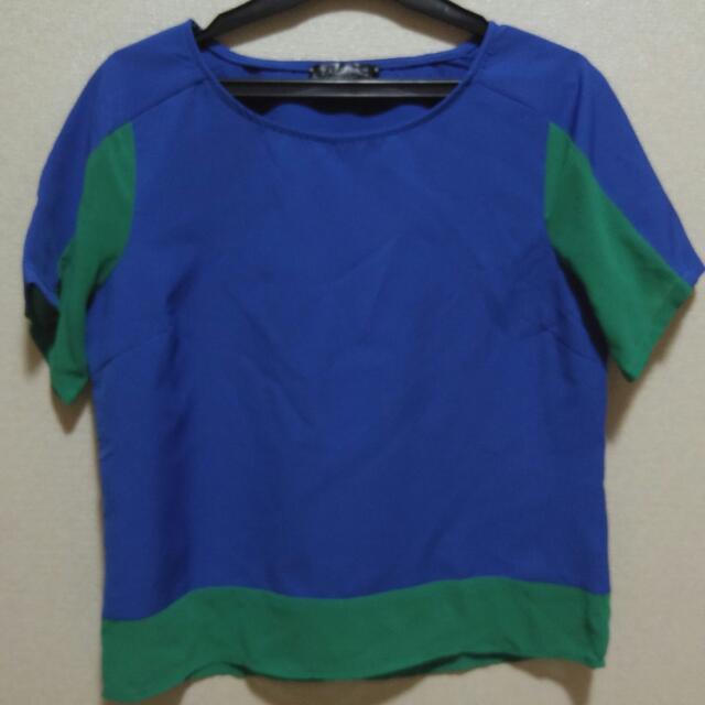 Zalora Blue Green Top