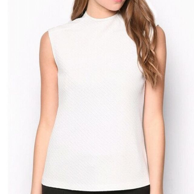 Zalora High Neck White Top