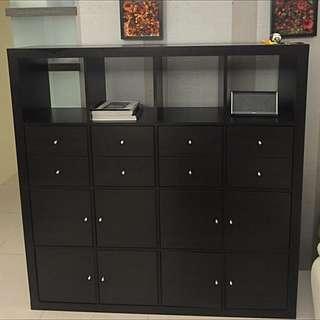 IKEA KALLAX 層架組附8收納配件/黑棕色/8成新