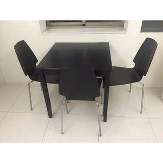 IKEA BJURSTA 餐桌椅組/3個餐椅/黑棕色/8.5成新