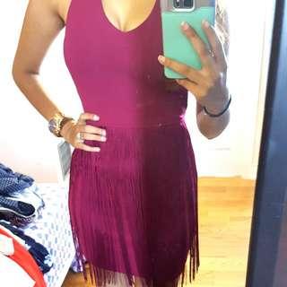 Wine Fringe Dress