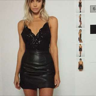 Body Suit & Leather Skirt