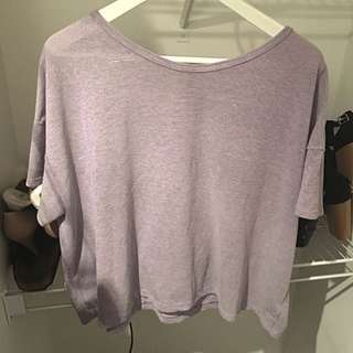 White And Purple Stripped Flowy T-shirt