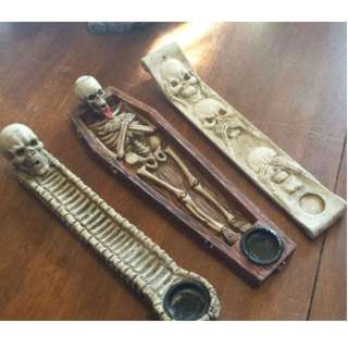 Skeleton incense and cone burner ($20 each)