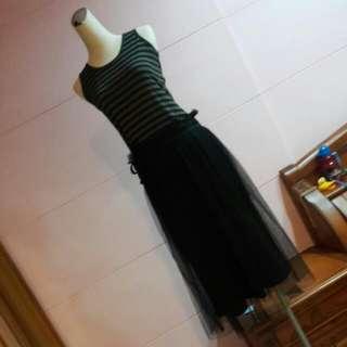 全新日專櫃PPFM👍黑灰條紋背心縮腰拼接黑紗裙