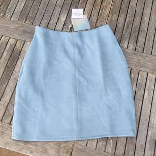 Light Blue Suede Skirt