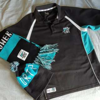 PORT ADELAIDE POWER OFFICIAL TOP SIZE SMALL OFFICIAL SCARF. BEANIE NOT OFFICIAL.   AFL MENS CLOTHING WOMENS CLOTHING