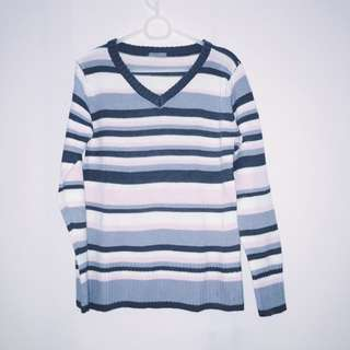 Gray and Pink Stripes Knitted Sweater