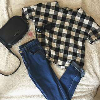 PENDING- High waisted Skinny Blue Jeans And Cotton Check Top