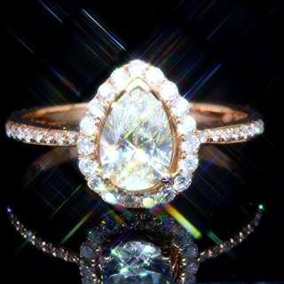全新18K玫瑰金單粒78份罕有梨形鑽石配小鑽共1卡2份鑽石戒指