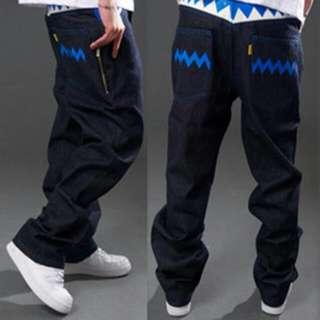 八成新 28腰 BASE 單寧原色硬挺牛仔褲 鯊魚牙齒繽紛彩條 造型拉鍊口袋 百搭有型
