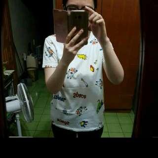 正韓 韓製 Korea 韓風 卡通宇宙太空人熊熊塗鴉白T Shirt