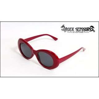 Rock scissors-[自訂款] Wiz khalifa /GD著用 復古嘻哈 橢圓框 粗框 太陽眼鏡(新色深紅)