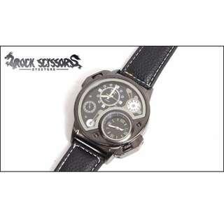 Rock scissors-[韓國空運] 極度帥 軍事設計感 暗黑軍械 圓型錶盤手錶(附盒子包裝)