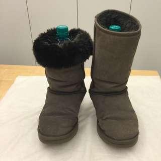 正品 UGG 兩穿式中筒靴 咖啡色 約8成新