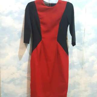 Slim Red Black Dress