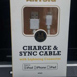 Antsig 1.5m IPhone 5-6s Plus Charger Cable.