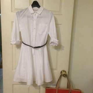 日本品牌 白色長袖洋裝