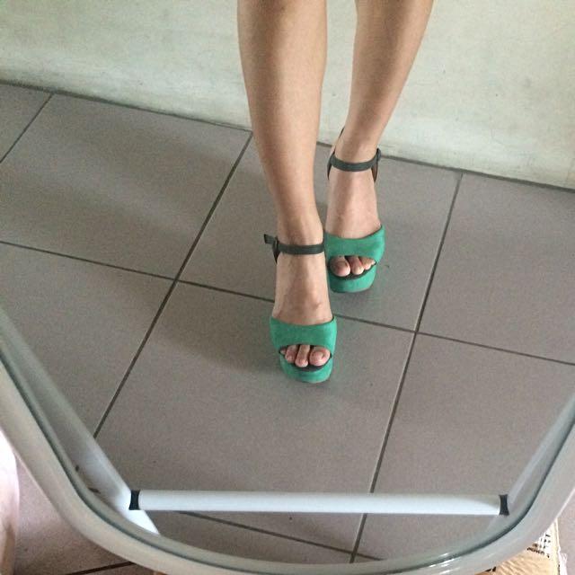 綠色雙色厚底涼鞋