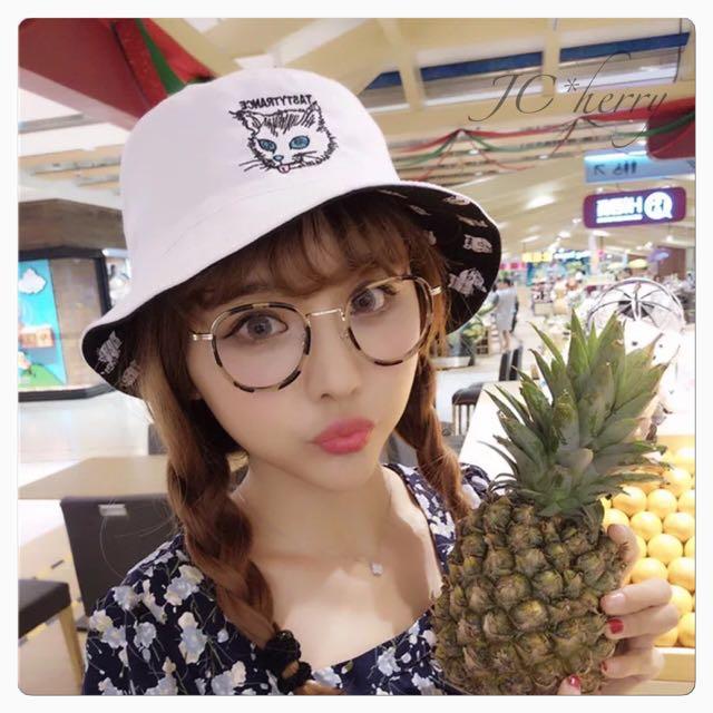 刺繡貓咪雙面漁夫帽(現貨)